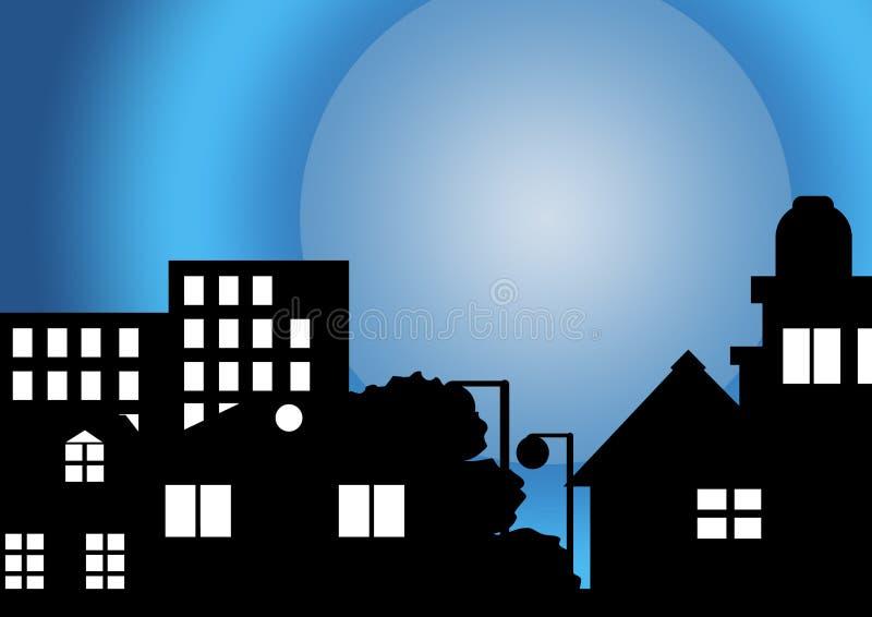 Mijn huis in maanlicht royalty-vrije illustratie