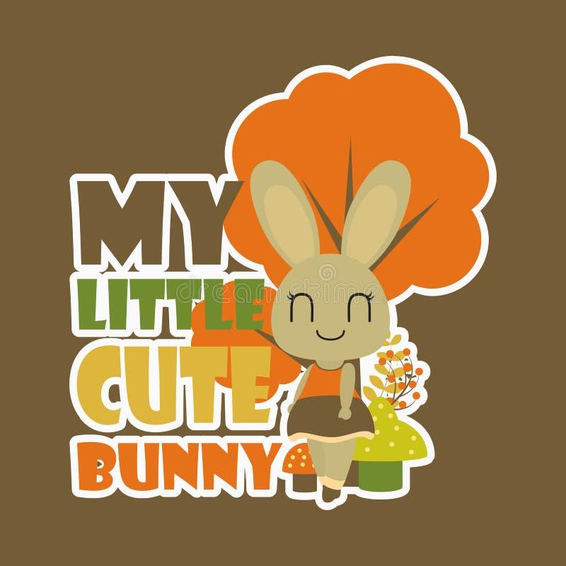 Mijn kleine leuke illustratie van het konijntjes vectorbeeldverhaal voor van de achtergrond jong geitjet-shirt ontwerp stock fotografie