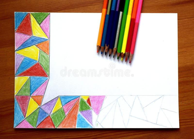Mijn onvolledige abstracte tekening met kleurpotloden stock afbeeldingen