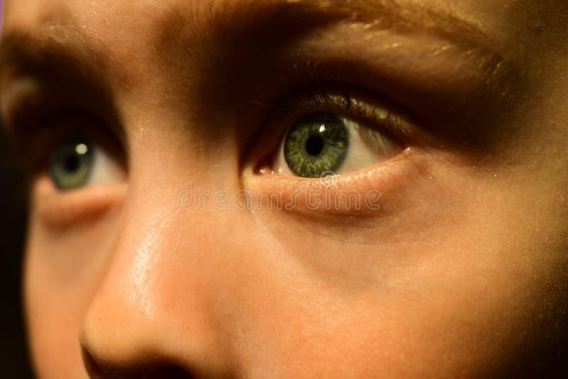 Mijn slecht zicht is een deel van me Oogtest bij de slijtagecontactlens van de oogarts Kleine jongen Weinig jongen met slecht zic stock afbeelding