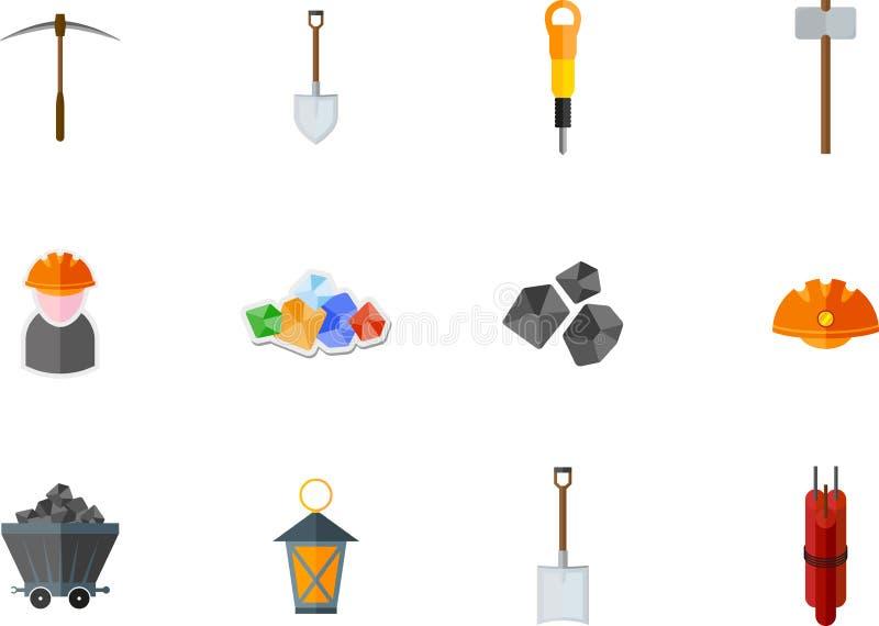 Mijn vlak pictogram stock illustratie