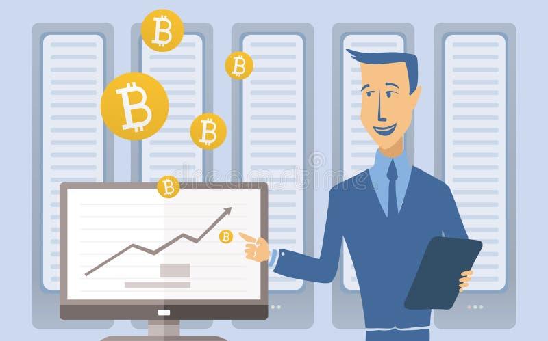 Mijnbouw bitcoin concept Jonge mens die zich bij de computer in de serverruimte bevinden Het landbouwbedrijf van de Cryptocurrenc royalty-vrije illustratie