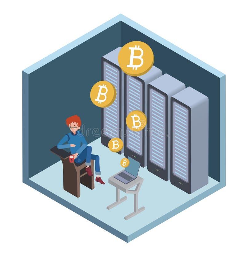 Mijnbouw bitcoin concept Jonge mensenzitting bij de computer in de serverruimte Het landbouwbedrijf van de Cryptocurrencymijnbouw vector illustratie