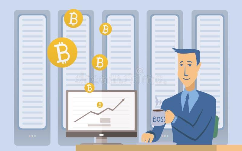 Mijnbouw bitcoin concept Jonge mensenzitting bij de computer in de serverruimte Het landbouwbedrijf van de Cryptocurrencymijnbouw stock illustratie