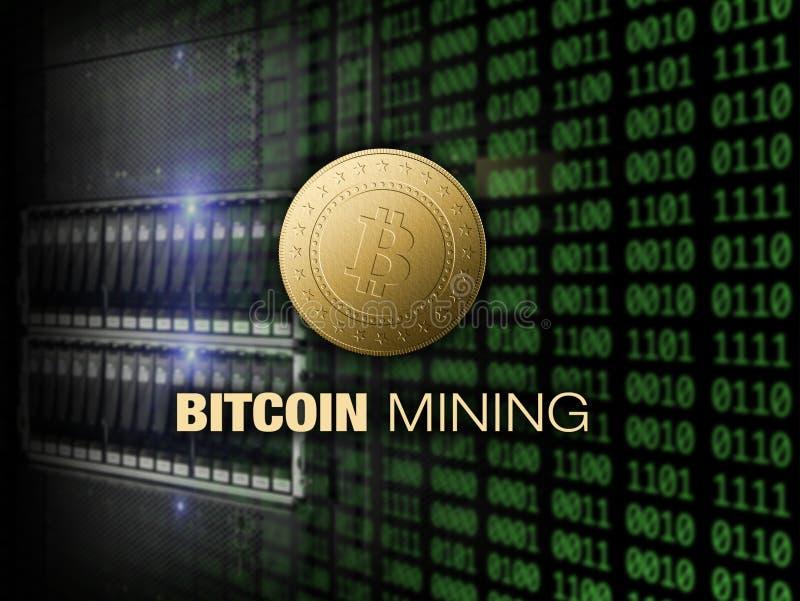 Mijnbouw bitcoin op server en dollarsachtergrond stock afbeelding