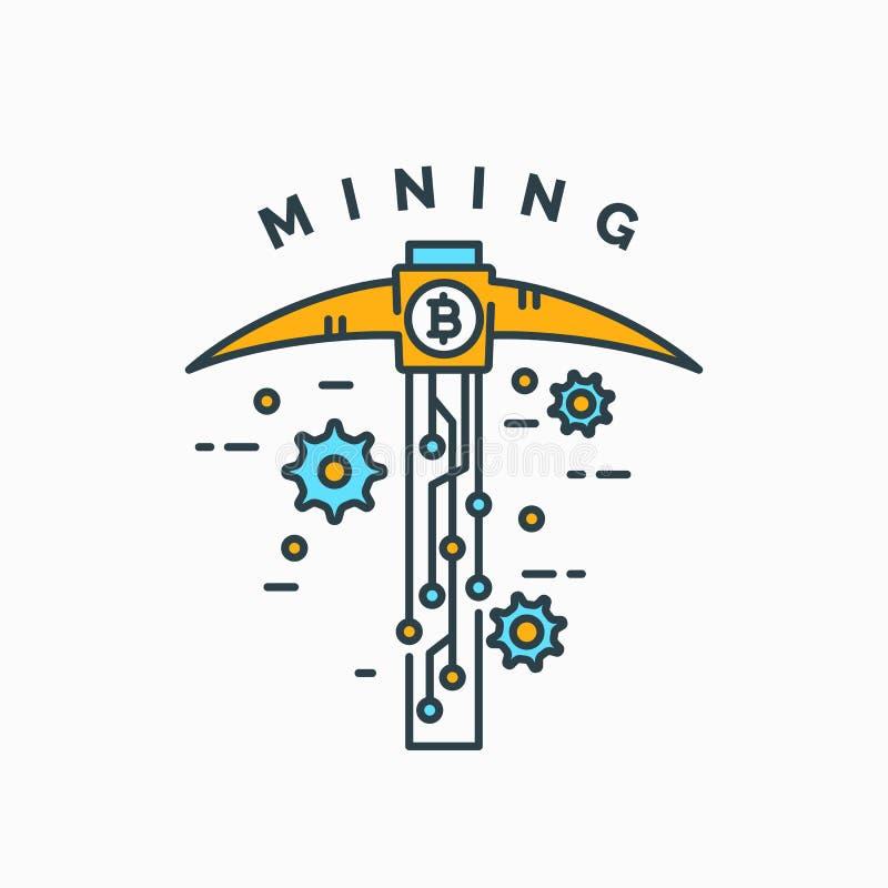 Mijnbouw en het verdienen cryptocurrency stock illustratie