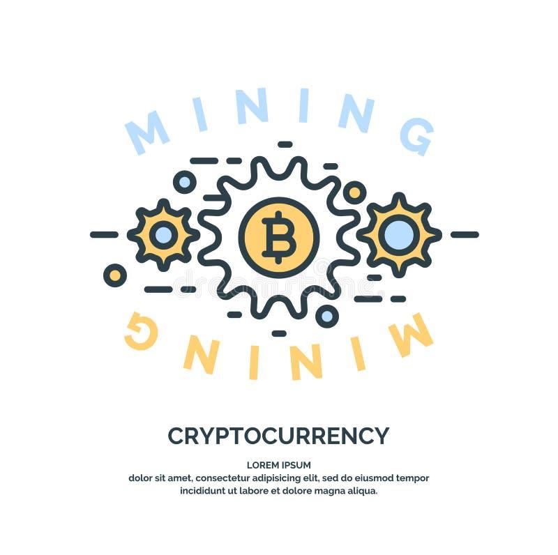 Mijnbouw en het verdienen cryptocurrency vector illustratie