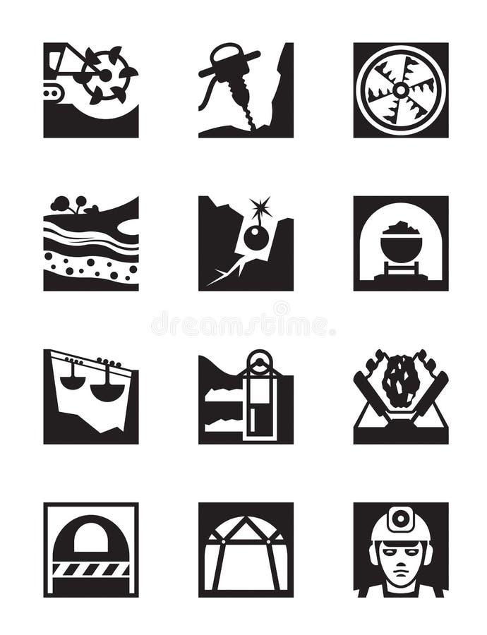 Download Mijnbouw En Mijnbouw Pictogramreeks Vector Illustratie - Illustratie bestaande uit machine, steunen: 39114211