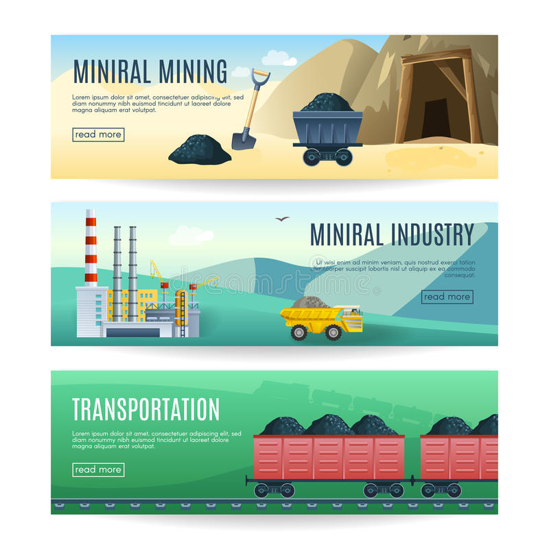 Mijnbouw Horizontale Banners vector illustratie