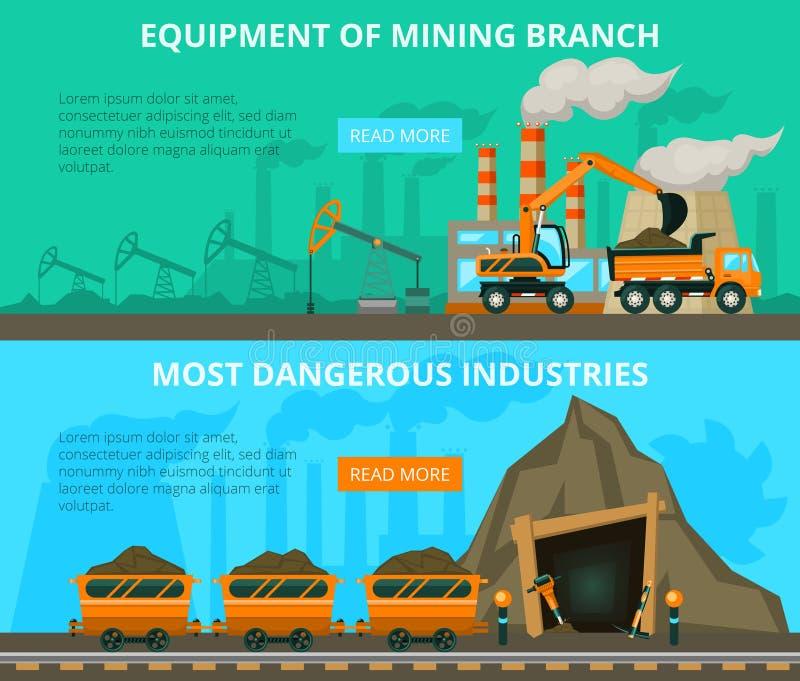 Mijnbouw 2 vlakke interactieve banners stock foto's
