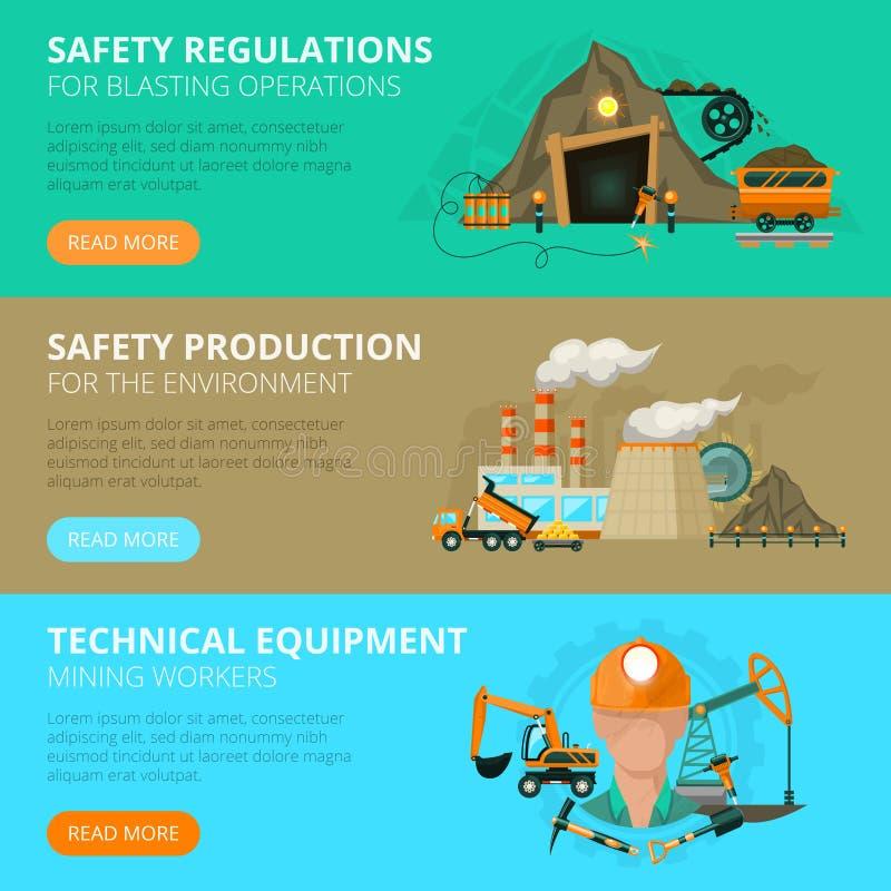 Mijnbouw 3 vlakke interactieve banners royalty-vrije stock afbeeldingen