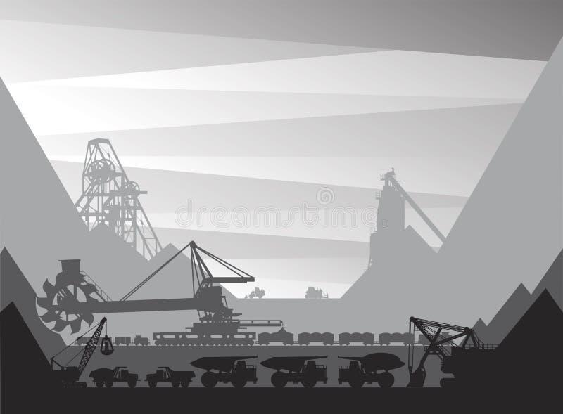 Mijnbouwinstallatie waarop de extractie van mineralen wordt geleid vector illustratie