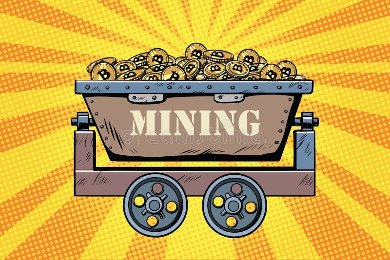 Mijnbouwkarretje met cryptocurrency bitcoin vector illustratie