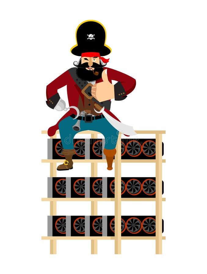 Mijnbouwlandbouwbedrijf en piraat obstructie voer op Mijnbouwinstallatie onwettige extrac royalty-vrije illustratie