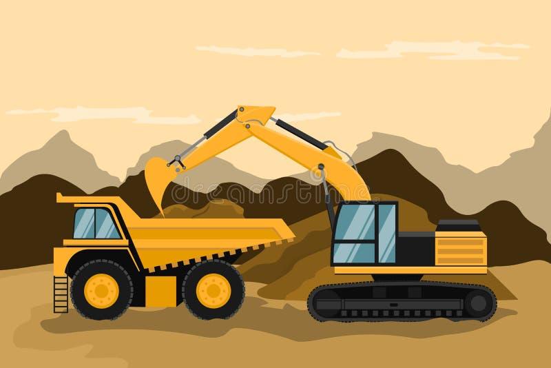 Mijnbouwvrachtwagen en rupsbandbackhoe die bouw doen en het werk ontginnen vector illustratie