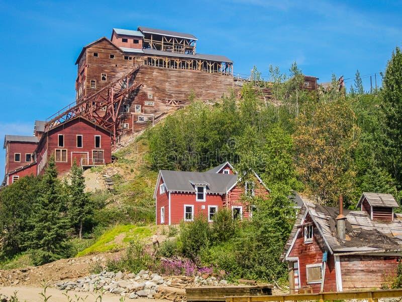 Mijne spookstad, Kennicott, Alaska stock afbeeldingen