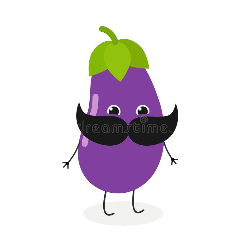 Mijnheer aubergine met snor vector illustratie