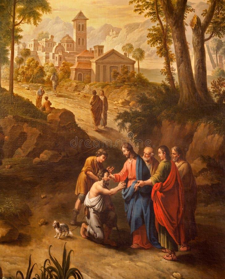 Mijnheer - Christus die de blinden op de weg helen aan Jericho. stock fotografie