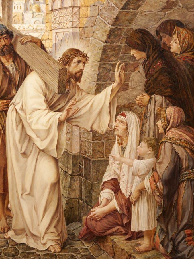 Mijnheer - Jesus en schreeuwende vrouwen van st. Peter s stock afbeelding