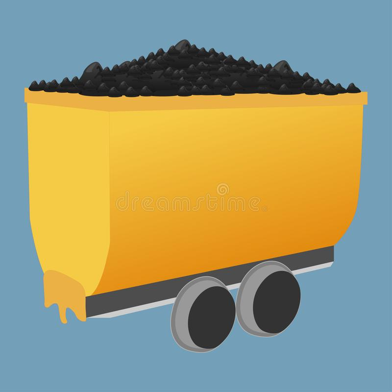 Mijnkar met steenkool royalty-vrije illustratie