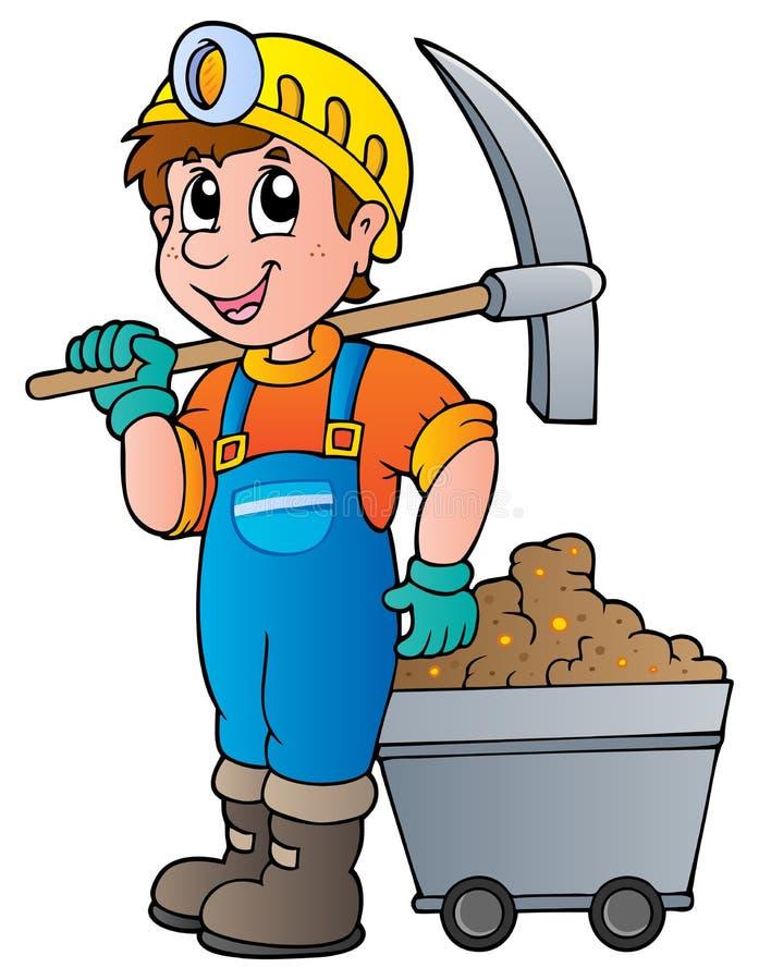 Mijnwerker met pikhouweel en kar stock illustratie