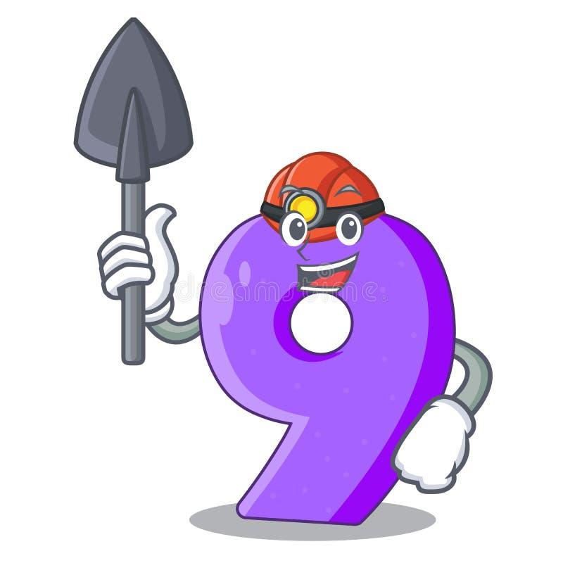Mijnwerker nummer Negen gestalte gegeven ballondoopvont charcter vector illustratie