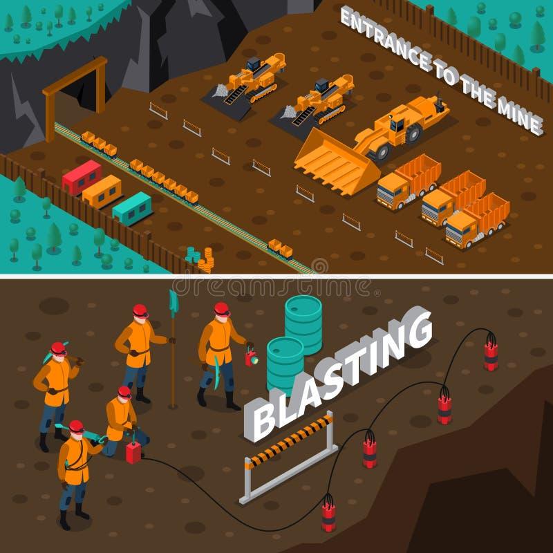 Mijnwerker People Isometric Banners stock illustratie