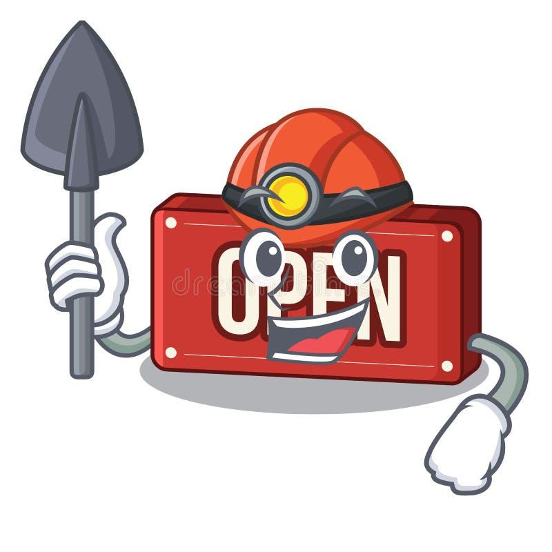 Mijnwerkers open teken op charcter stock illustratie