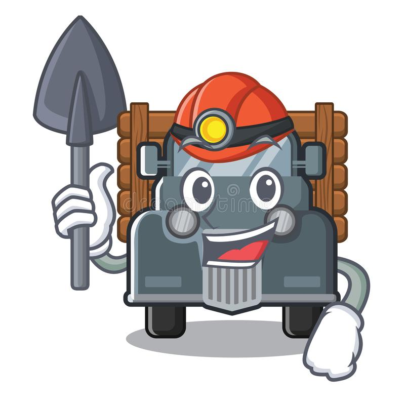 Mijnwerkers oude vrachtwagen in de mascottevorm stock illustratie