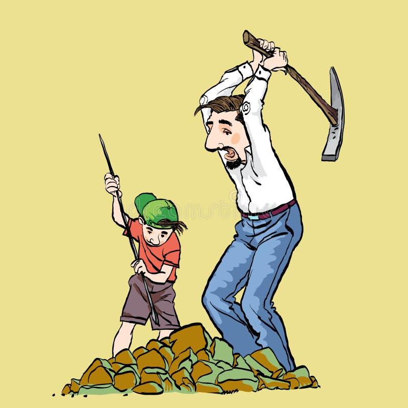 Mijnwerkers, prospectors of goudzoekers met oogstbijl Vader en zoonsmijnbouw Familiebedrijf stock illustratie
