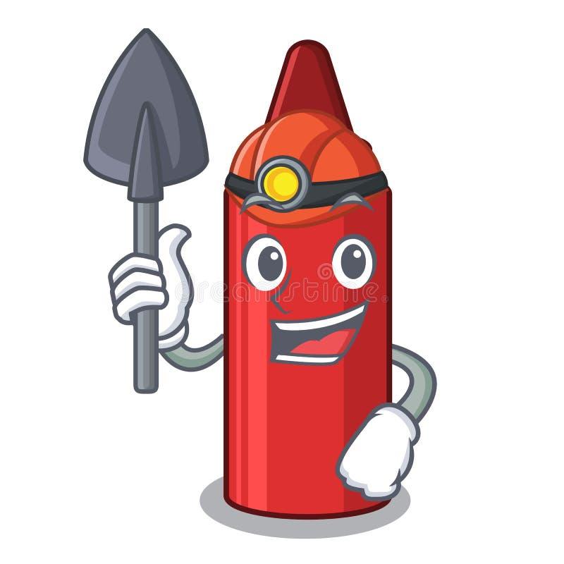 Mijnwerkers rood kleurpotlood in een beeldverhaalzak royalty-vrije illustratie