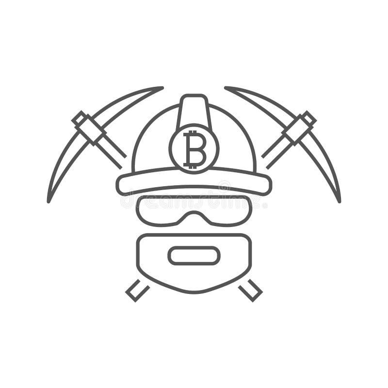 Mijnwerkersembleem Crypto van mijnbouwbitcoin Munten Arbeider met pikhouwelen Editableslag vector illustratie