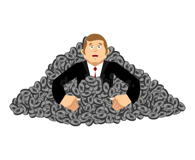 Mijnwerkersetherium Gelukkig, van winst Guy Cryptocurrency Zieke vector royalty-vrije illustratie
