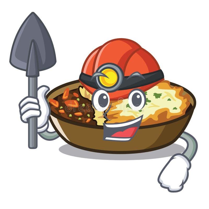 Mijnwerkersgratin in mascottevorm vector illustratie