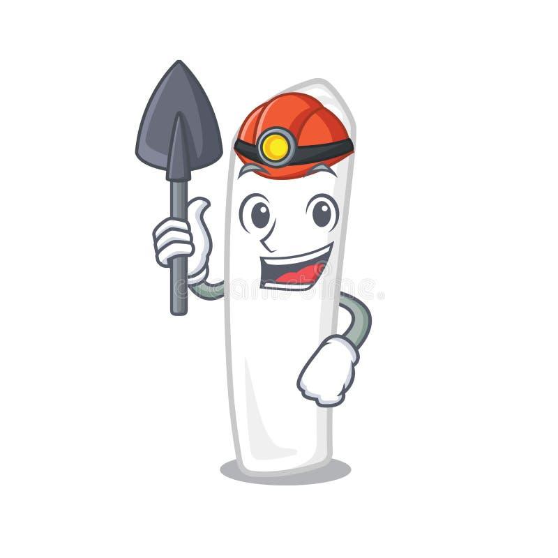 Mijnwerkerskrijt in beeldverhaaldoos vector illustratie