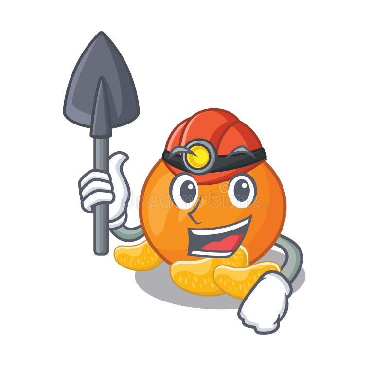 Mijnwerkersmandarijn met in de mascottevorm vector illustratie