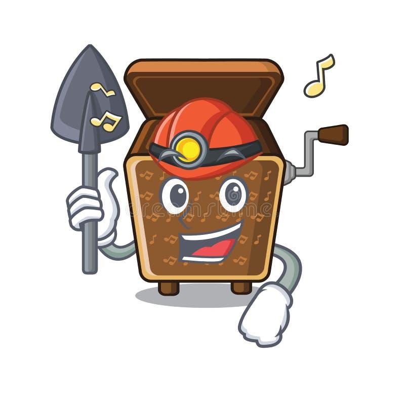 Mijnwerkersmuziekdoos in de mascottevorm vector illustratie