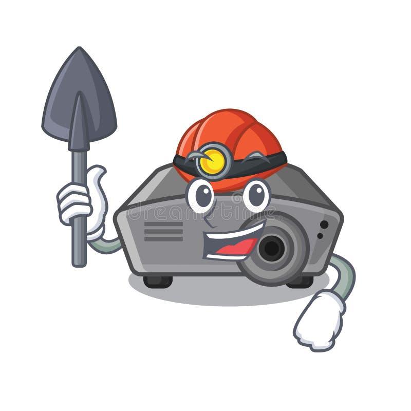 Mijnwerkersprojector in beeldverhaalvorm vector illustratie
