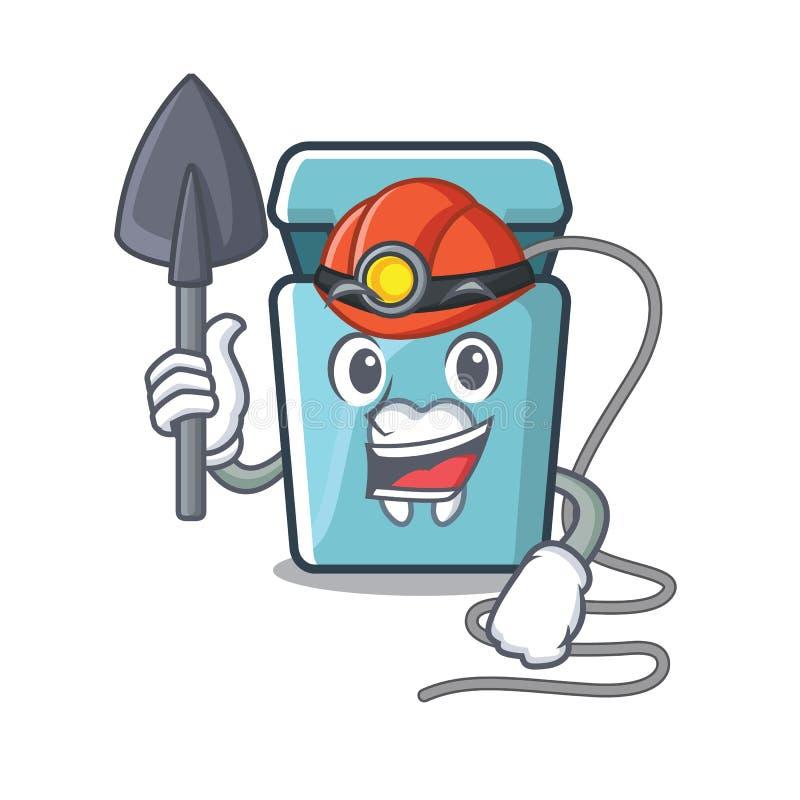 Mijnwerkerstandzijde in een mascottedoos royalty-vrije illustratie