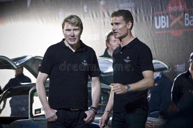Mika Hakkinen and David Coulthard with Mercedes SL stock photo