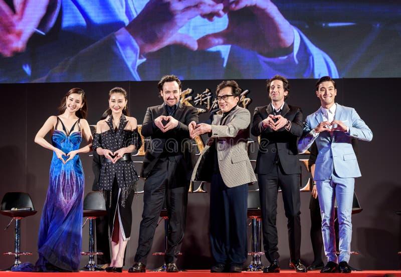 Mika Wang, Lin Peng, John Cusack, Jackie Chan, Adrien Brody und Choi Siwon bei Dragon Blade Premiere lizenzfreie stockbilder