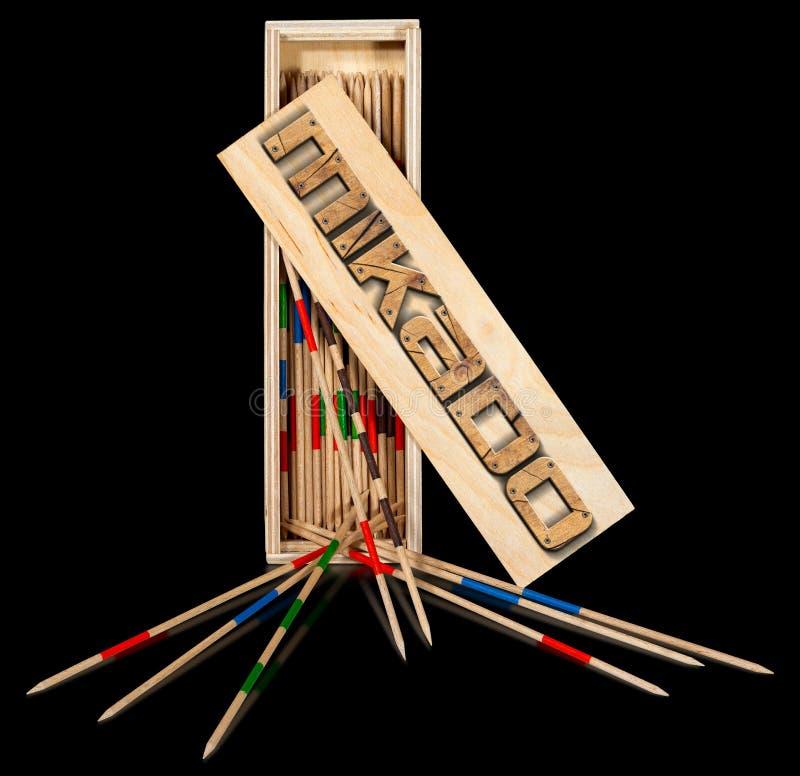 Mikado - ξύλινα ραβδιά και κιβώτιο ελεύθερη απεικόνιση δικαιώματος