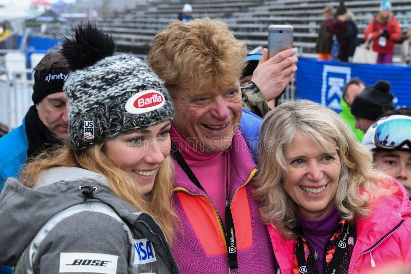 Mikaela Schiffrin and Preston Leete Smith, founder of Killington Ski Resort posing for camera stock photos