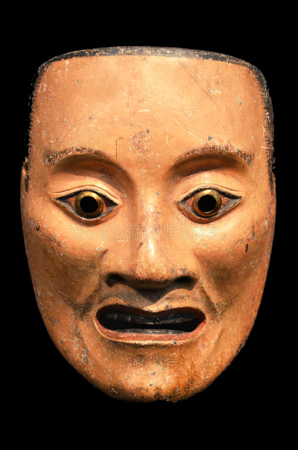 Mikazuki, masque de Noh de l'esprit masculin. image stock