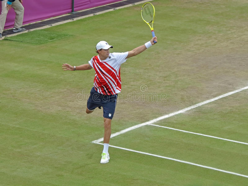 Mike Bryan. WIMBLEDON, ENGLAND - August 2nd, 2012 - Mike Bryan during one of his double matches at the summer Olympics in London in 2012. They went on to win the stock photography