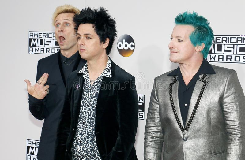 Mike Dirnt, Billie Joe Armstrong, Tre Cool de Green Day imagenes de archivo