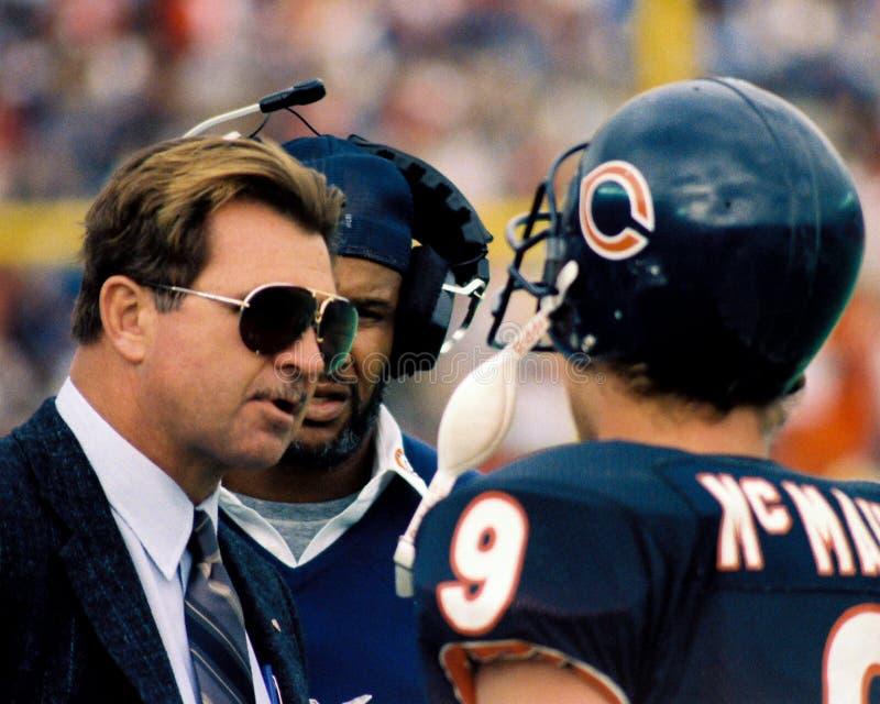 Mike Ditka en Jim McMahon Chicago Bears stock foto
