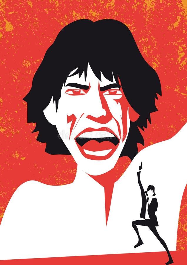 Mike Jagger de Rolling Stones, vectorportret vector illustratie