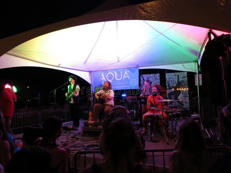 Mike Love avec la bande la nuit sur l'étape chez Hallowbaloo photos libres de droits