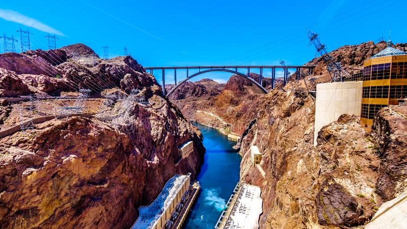 The Mike O`Callaghan–Pat Tillman Memorial Bridge that crosses the Colorado river just downstream of the Hoover Dam. And connecting the states stock photography